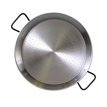 polished steel paella pan