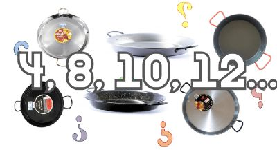 What size paella pan for 4 people? to serve 12? 8? or 10?